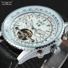 JARAGAR الموضة الميكانيكية الرجال ساعة توربيون صغيرة العمل الفرعية الهاتفي حزام من الجلد العلامة التجارية الفاخرة التلقائي ساعة اليد جديد