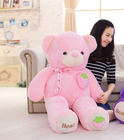 stuffed fillings toy about 120cm pink strawberry fruit teddy Bear plush toy bear doll soft throw pillow Christmas gift,b0795 lovely new plush teddy bear toy stuffed light brown teddy bear with bow birthday gift about 120cm