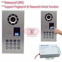 IP65 отпечатков пальцев/код дверь домофон Системы Дверные звонки Камера Видеодомофоны CCD Камера 700 линий открытый Камера Ночное видение