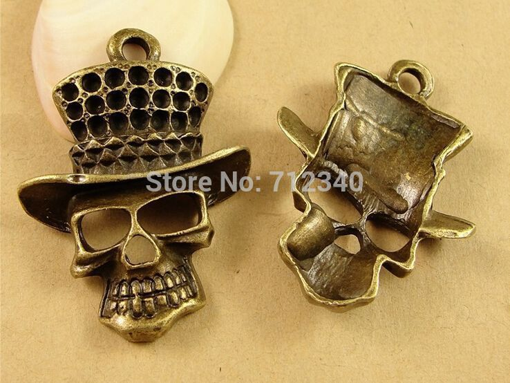20pcs a lot Free Shipping vintage style Halloween Skull Charms Pendant Antique Bronze Tone DIY Jewelry Making findings accessor