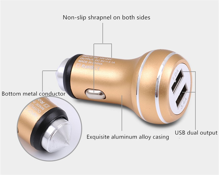 1 0A 3 4A Dual USB Car Charger Aluminum Alloy Lifesaving hammer Modeling For All Vehicles in Power Adapter from Automobiles Motorcycles