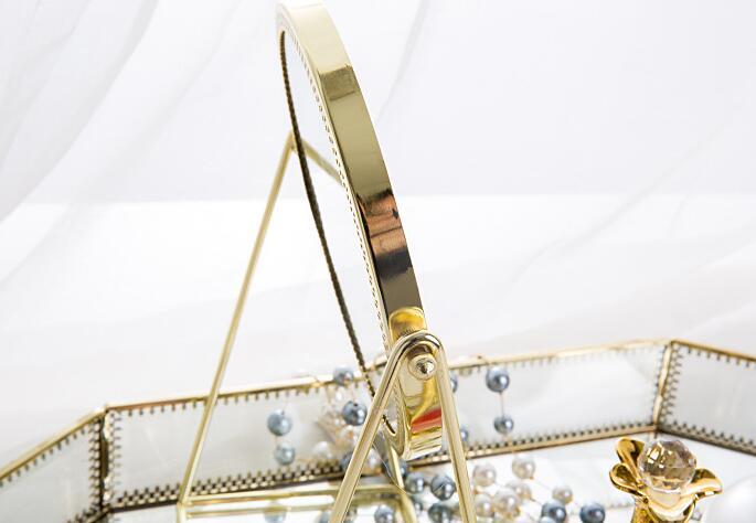 DBR1-Makeup mirror small desktop single-sided round princess makeup mirror portable Nordic golden beauty makeup mirror metalDBR1-Makeup mirror small desktop single-sided round princess makeup mirror portable Nordic golden beauty makeup mirror metal