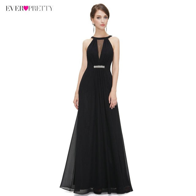 [Clearance Sale]Ever Pretty Evening Party Dresses 2018 Women Sleeveless Sleeveless Floor Length Halter Party Gowns EP09995BK