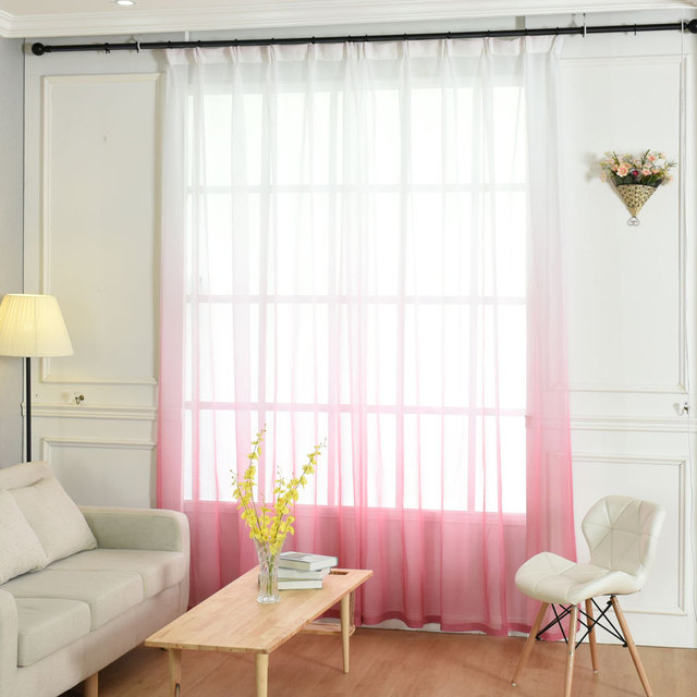 One Panels Sheer Curtains Pink Modern Curtain Designs Printed Solid Bedroom  Polyester Cotton Material Kitchen Tulle