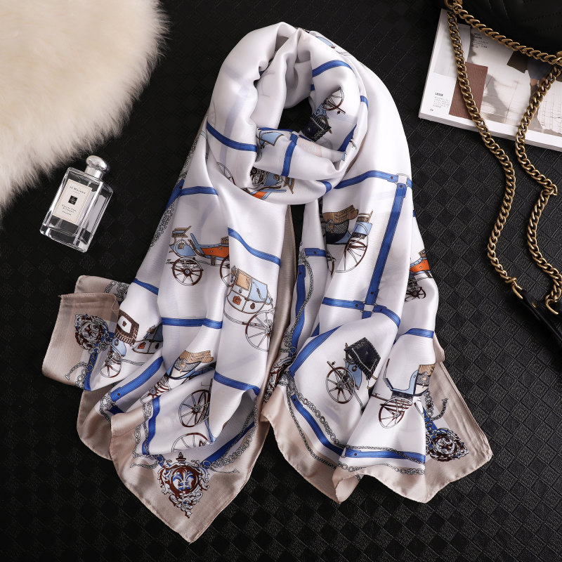 6060Cm Women Scarf Square Silk Hair Tie Band Skinny Hair Tie Band Small Handkerchief Bandana Scarf-In,8,60Cm 60Cm