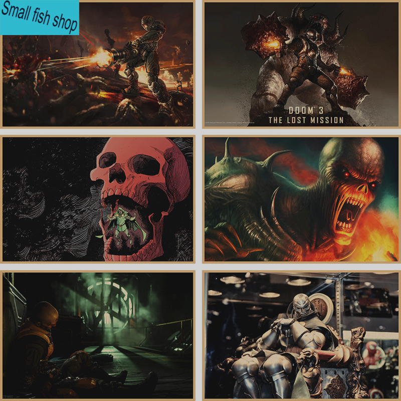 DOOM Home Furnishing decoration Kraft Game Poster Drawing core Wall stickers