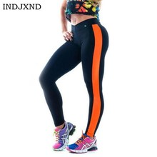 Nuevo Diseño Lateral Raya Ropa Deportiva Mujeres Leggins Leggings Pantalones Sprotswear Patchwork Gimnasio Academia Femenina Mulher K042