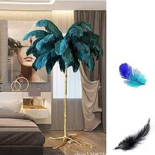 Modern LED Floor Lamp Ostrich Feather Light postModern Copper Living Room Hotel Removable Body