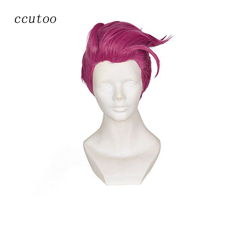 "ccutoo 12"" Rose Red Short Men's Cosplay Wigs Styled Synthetic Full Hair Heat Resistance Fiber"