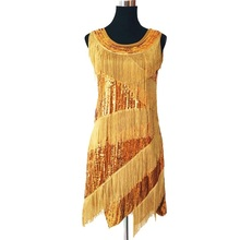 New costumes fashion sequined tassels adult latin dance dress sexy sleeveless tank party tight dress Bling Sequined Dancing Dres