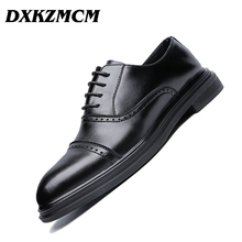 DXKZMCM Genuine Leather Men Brogues Shoes Lace-Up Bullock Business Dress Men Oxfords Shoes Male Formal Shoes