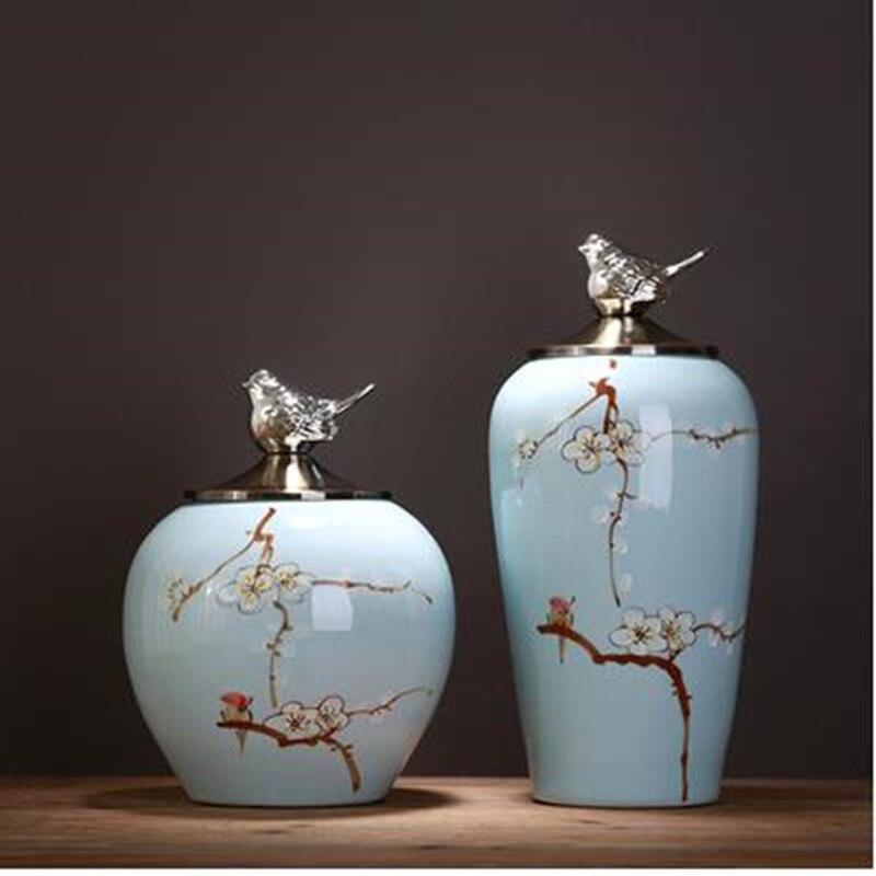 Beaux pots de rangement en céramique, articles décoratifs de bureau à la maison, artisanat moderne créatif - 2