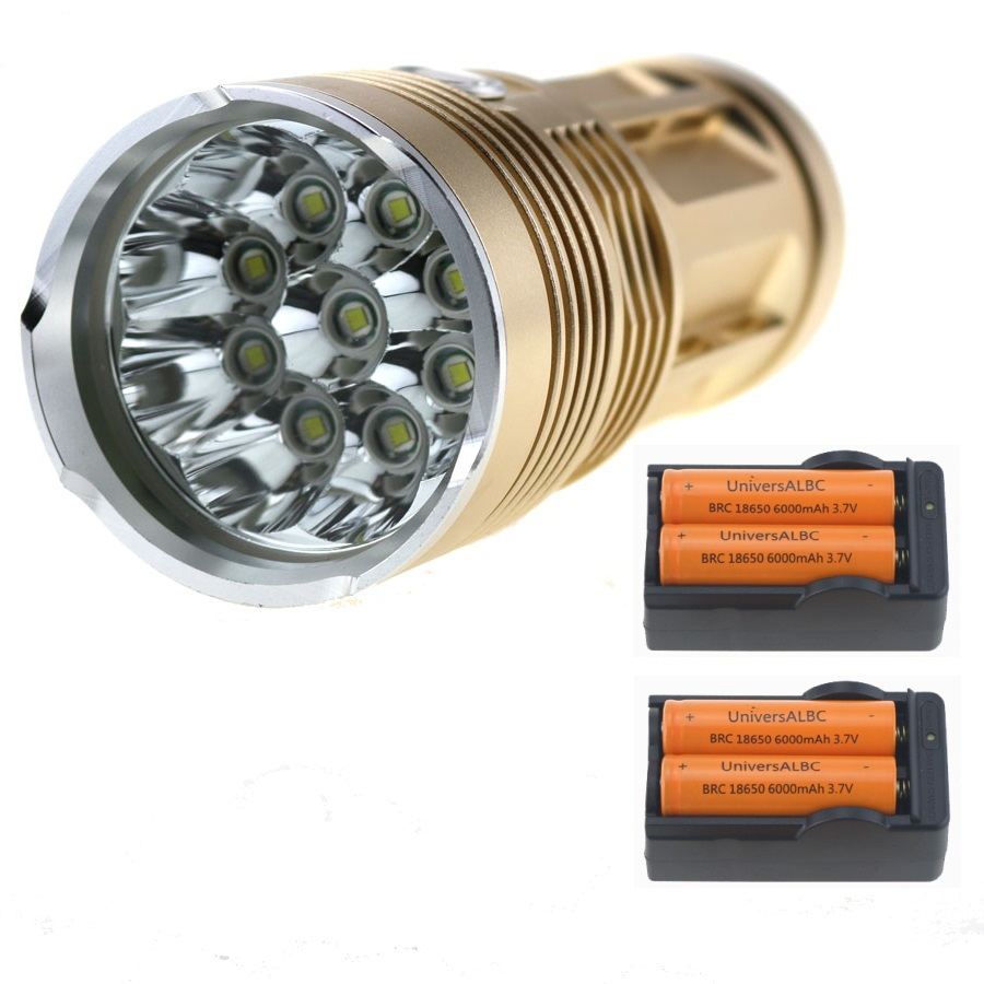15000 Lumens Hunting Lamp SKYRAY 9xCREE XM-L T6 Tactical LED Flashlight Travel Camp Torch + 4x 18650 Battery + Battery Charger