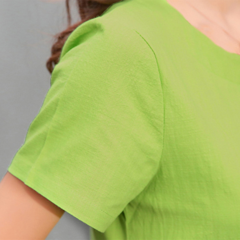 845e5b40b514 2017 Summer Women Patchwork Cotton Linen Dresses Short Sleeve Loose Knee  Length Vintage Female Dress Fashion Arts Style Vestido-in Dresses from  Women s ...