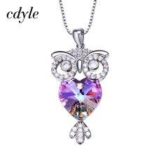 装飾ペンダント女性ネックレス紫、青フクロウビジューラインストーンかわいいシックな Cdyle