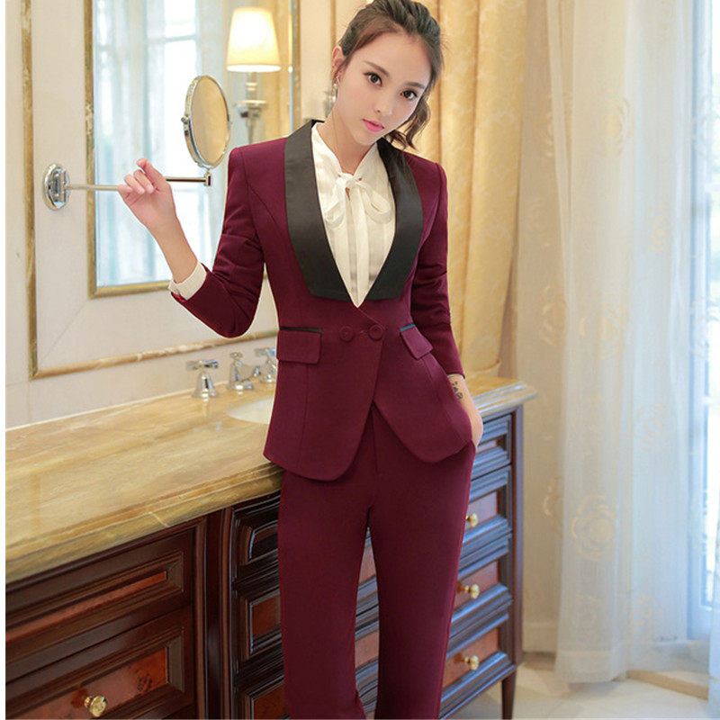 Shawl Collar Two Piece Ladies Formal Pant Suit For Wedding Office Uniform Designs Women Business Suits Blazer For Work