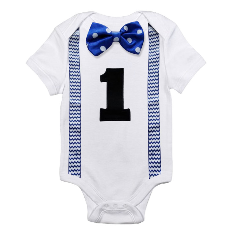 Infant Baby Boys 1st First Tie Bow Birthday Party Suspender Little Gentleman   Romper   Jumpsuit Short Sleeves Summer Cotton Clothes