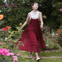 Life In The Left Vintage Long Preppy Style Pleated Dress Long Simple Causal Solid Color Fashion Brace Dress Belt Saia Mori Girl