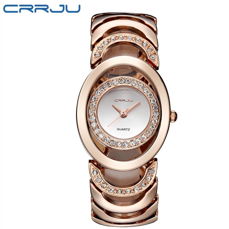 Prix pour CRRJU Femmes De Luxe Célèbre Marque Or Rose Montre Dame De Mode Strass Bracelet Wristwtaches Dames Quartz Wacthes Montre Femme