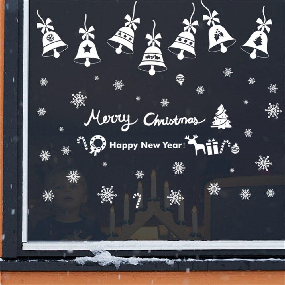 Diy Home Decor New Snow Bell Christmas Wall Stickers Window Glass Decorative Wall Decal Adornos