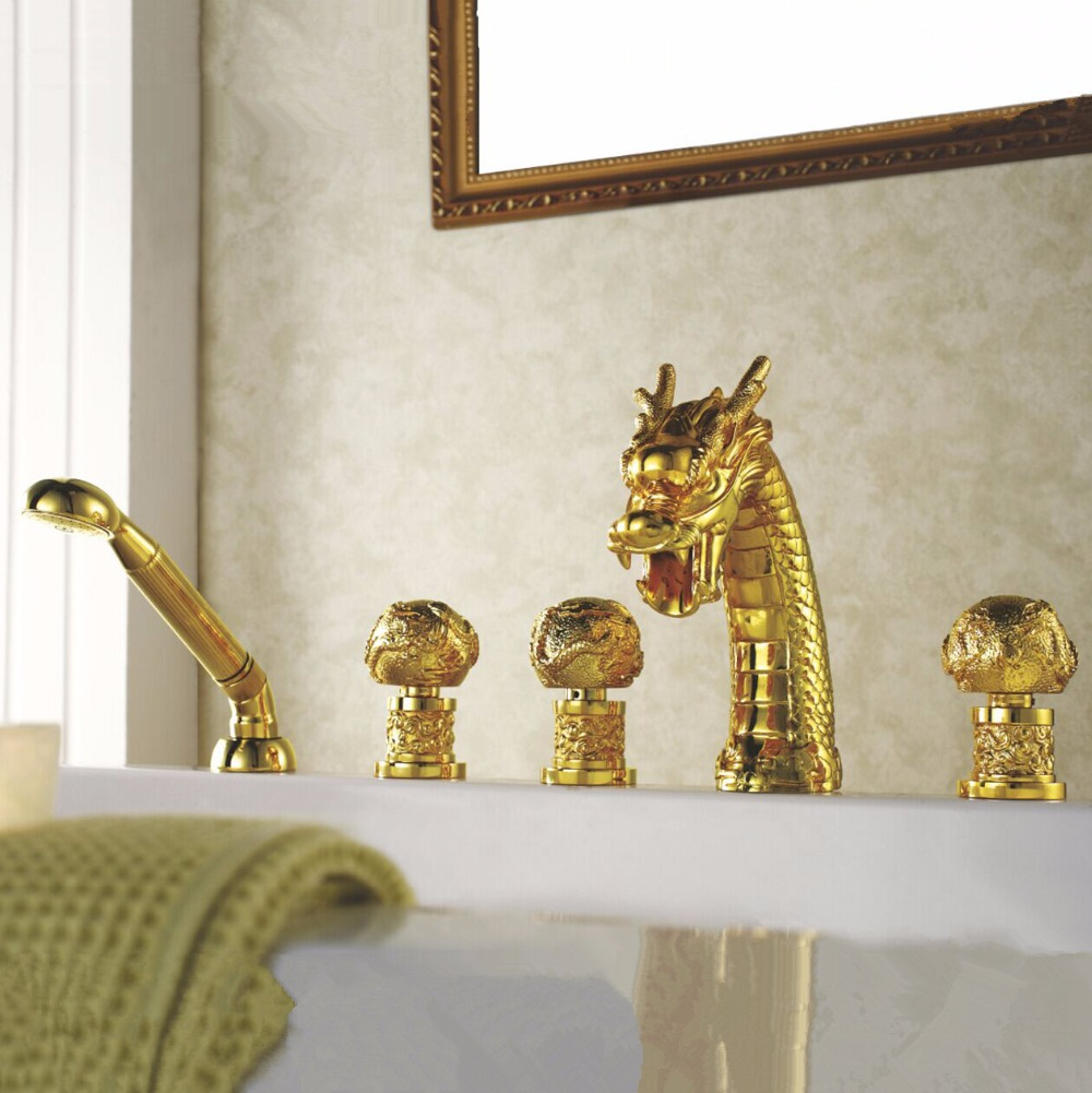ᗐBathtub Faucet Brass Gold Dragon Waterfall Bathroom Sink Faucet ...