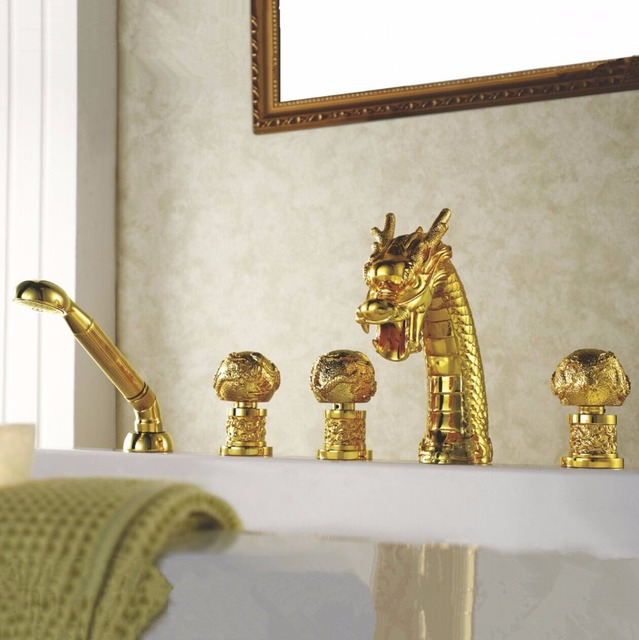 Bathtub Faucet Br Gold Dragon Waterfall Bathroom Sink Handheld Shower Deck Luxury Tub Widespread Mixer