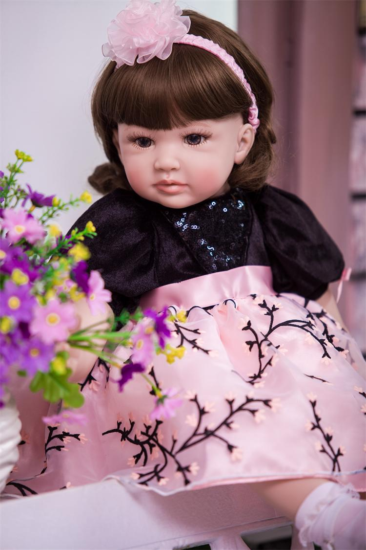 60cm Very Big Reborn Toddler Princess Girl Doll 3/4 Silicone Vinyl Non Toxic Lifelike Baby Bonecas Girl Bebe Doll Reborn Menina