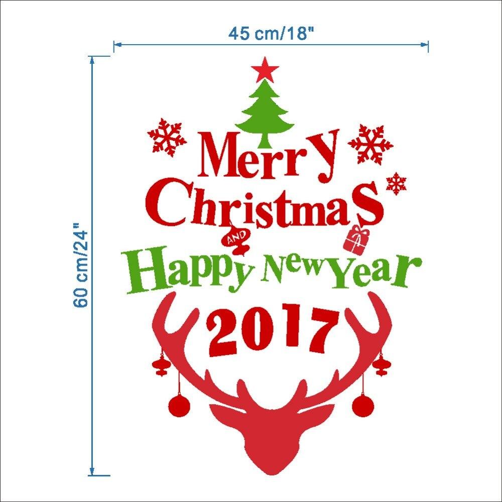 2017 diy Merry Christmas Wall Sticker Shop Window Sticker Glass Mall ...