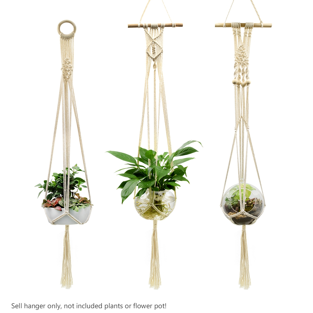Macrame Rope Plant Holder Home Garden Flowerpot Holder Hanger Basket Yellow