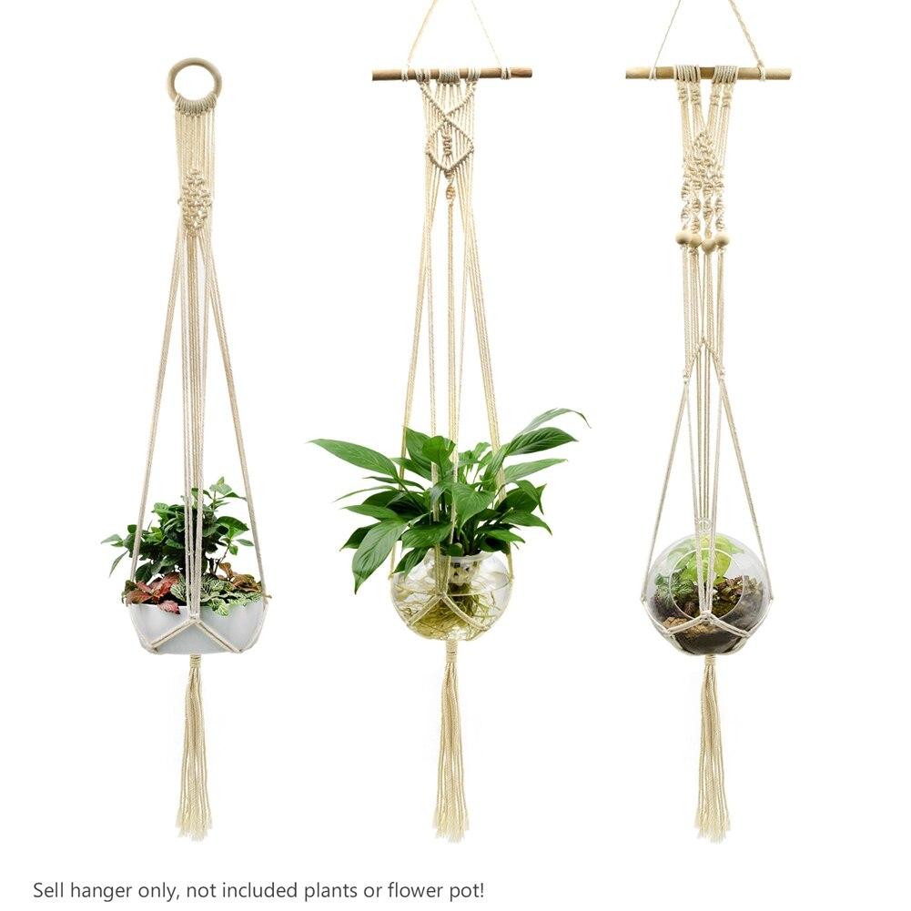 Ev ve Bahçe'ten Askı Sepetleri'de Vintage dekor makrome bitki askı sepeti saksı bitki tutucu makrome asılı düğümlü kaldırma halatı bahçe ev bahçe dekor title=