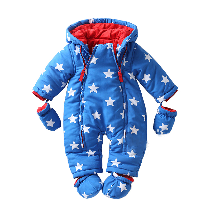 Baby rompers Winter clothes Newborn Baby Boy Girl Romper Jumpsuit  Hooded Outwear Kid Outerwear For 0-24M 2017 new baby rompers winter thick warm baby girl boy clothing long sleeve hooded jumpsuit kids newborn outwear for 1 3t