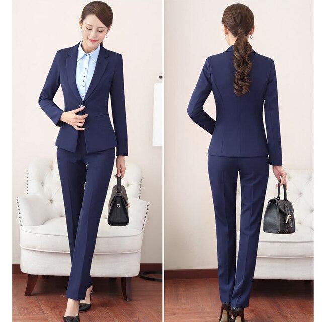 Plus Size Women Suits 2018 Professional Outfits Single Button