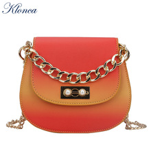 Klonca Female Shoulder Bag 2019 New Fashion Gradient Color Small Round Freeshipping Portable Lock Chain