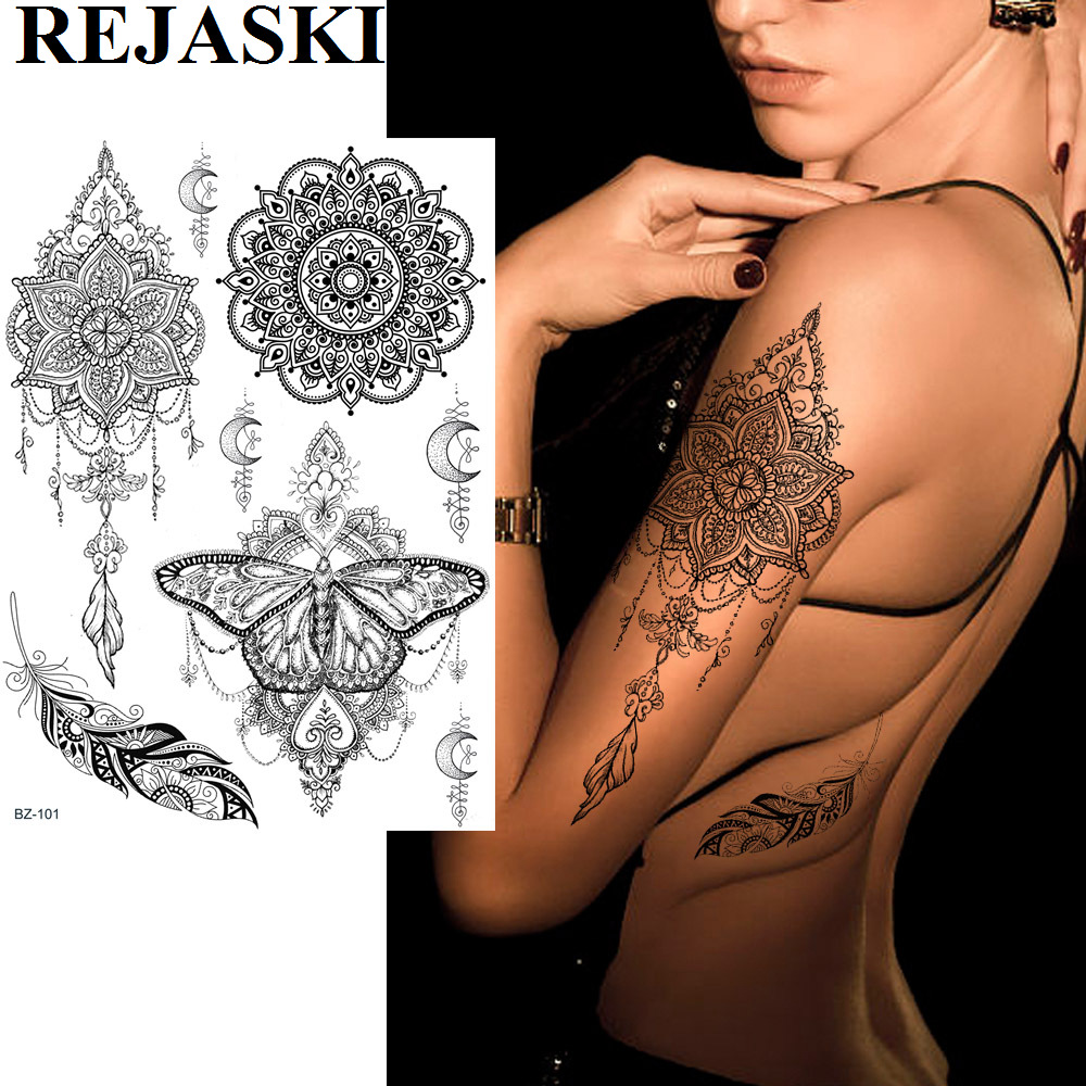 REJASKI Black Henna Lace Temporary Tattoos Sticker For WOmen Butterfly Moth Mehndi Flower Fake Tatoo Sticker Feather Flora Tatoo