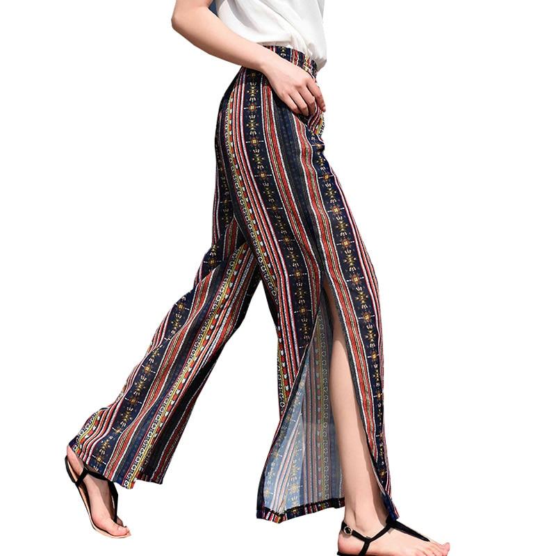 N.XINZHE High split print wide leg   pants   women Summer beach boho chiffon   pants   high waist trousers casual   pants     capris   femal