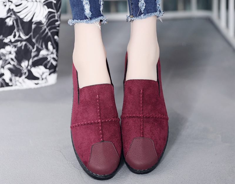 Plus Size Summer Women Flats Fashion Splice Flock Loafers Women Round Toe Slip On Leather Casual Shoes Moccasins New 2019 VT209 (5)