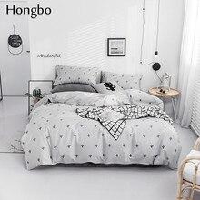 Hongbo Cotton Duvet Cover Flat Bed Sheets White Black Cactus Pattern Pillowcase Bedding Set