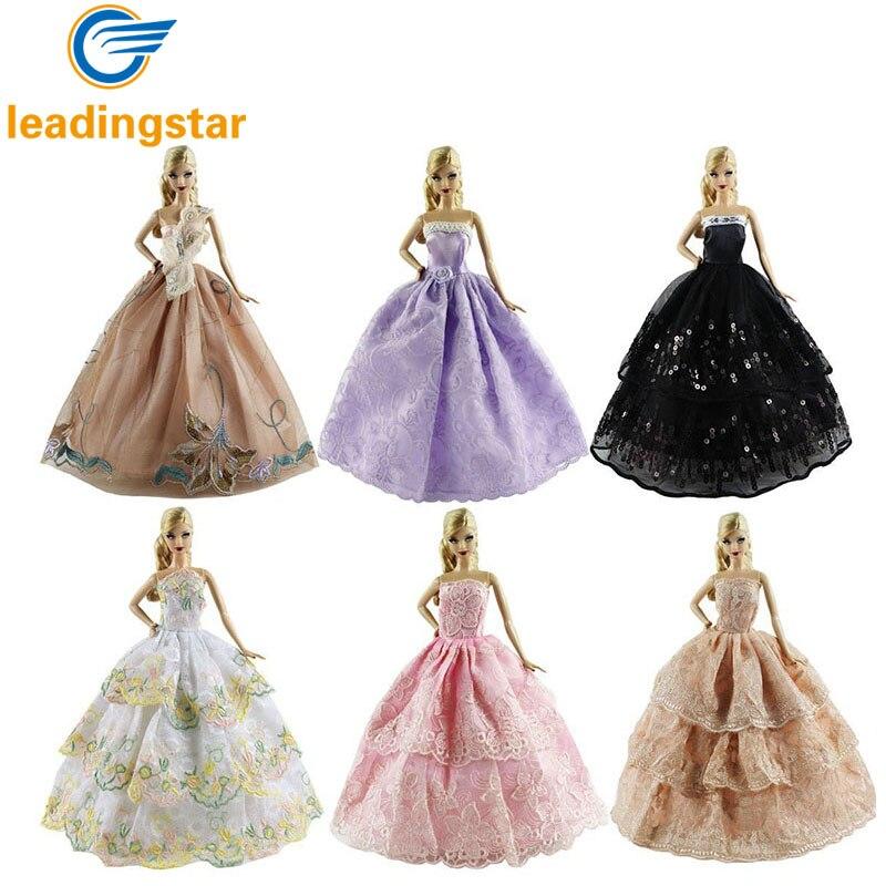 6 STÜCKE LeadingStar Hochzeit Kleid für Barbie-puppe Elegante Spitze Multi  Schichten Hochzeitskleid Für Barbie-puppe Luxury Floral Puppe kleid