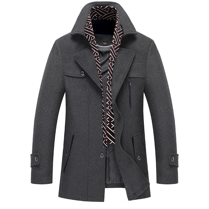 2019 Wool Trench Coat Men New Winter Thicken Windbreaker Trench Jacket Mens Casual Warm Overcoat Gray R1662