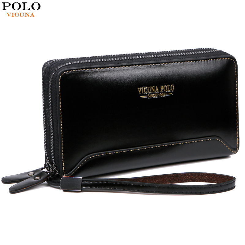 756d77a7cf VICUNA POLO Natural Genuine Leather Man Wallet Vintage Simple Design Mens  Slim Short Wallet Crazy Horse ...