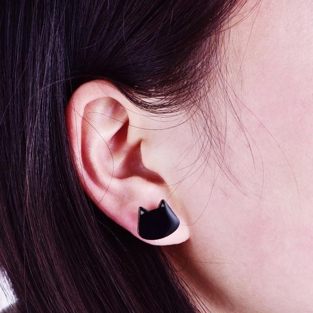 New Cute Little Black Cat Face Stud Earrings For Women Lovely Kitty Animal Fashion
