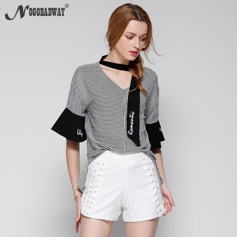 Más tamaño camisa de la blusa de las señoras 2017 del verano de manga corta floj