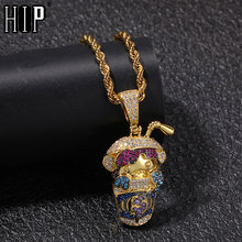 Hip Hop AAA Cartoon Drink Cup Shape CZ Pendant Necklace Full Iced Out Cubic Zirconia Gold Sliver Stone For Men Jewelry