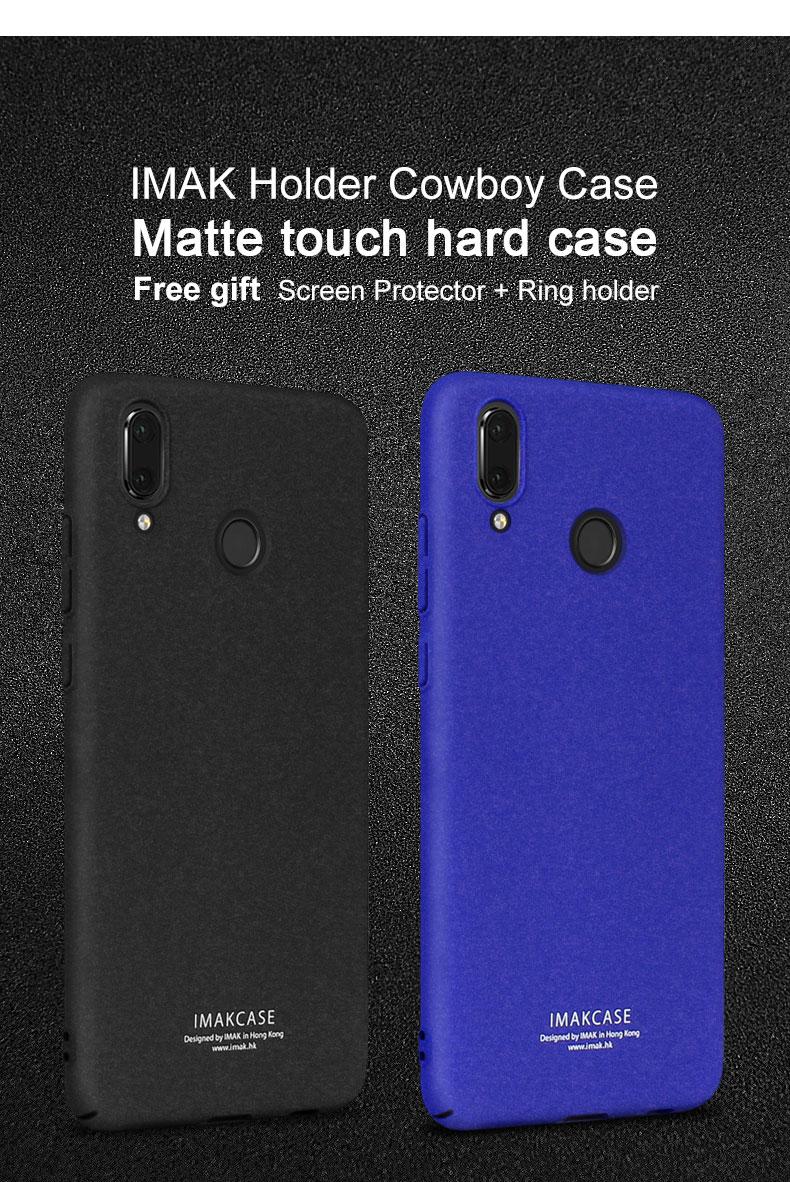 Case For Huawei P20 Lite / Nova 3E Imak Matte Cases Hard Back Cover + Finger Ring Holder With Retail Box