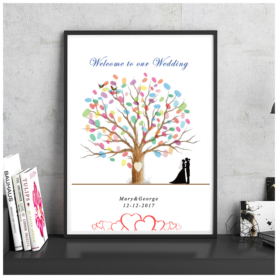 Personalized Thumbprint Tree Wedding Guest Book Alternative: Personalized Fingerprint DIY Wedding Signature Guest Book