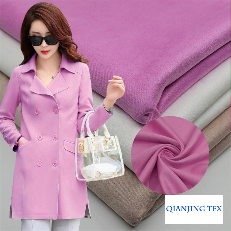 Suede Scuba Fabric Polyester Spandex Stretch 155cm Width Heavy Thick for Jacket Coat Shell Dress