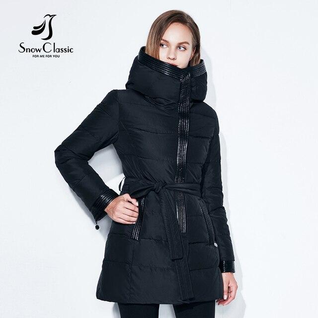 Женские Зимняя куртка теплые парки женские пальто хлопковое пальто Высокое качество регулируемый пояс Зимняя коллекция snowclassic