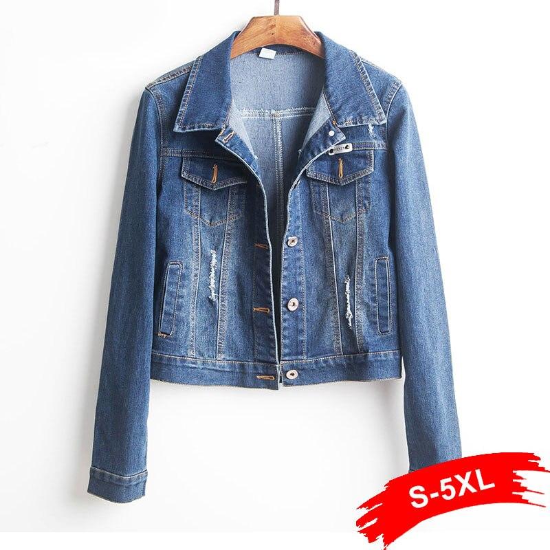Plus Size Cropped Denim Jacket For Women 4Xl 5Xl Long Sleeve Dark Blue Short Jeans Jacket Women Denim Coat Ladies Coats