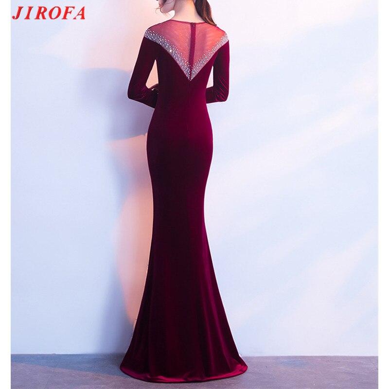 2019 długie aksamitne zimowe sukienka kobiety Vestidos Verano sukienka w dużym rozmiarze elegancki Robe Hiver wieczór syrenka suknia z długim rękawem w Suknie od Odzież damska na  Grupa 2