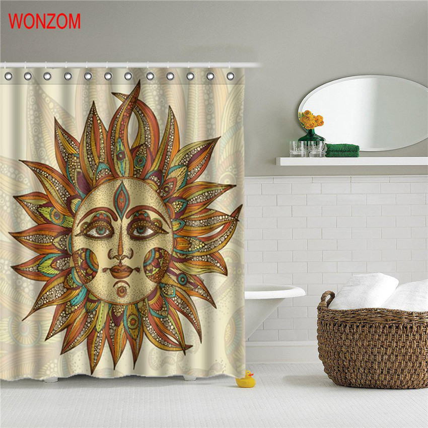 WONZOM Polyester Fabric Shower Curtains with 12 Hooks For Bathroom Decoration Modern 3D Bath Waterproof Curtain 2018 New Arrival